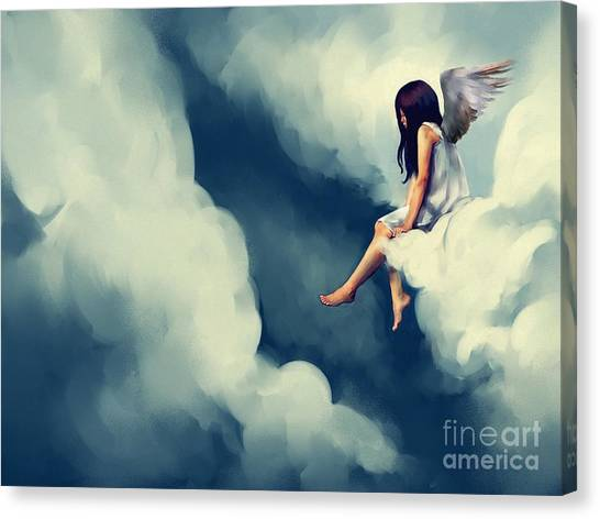 Sensual Canvas Print - Painting Of Beautiful Angel Sitting On by Archv