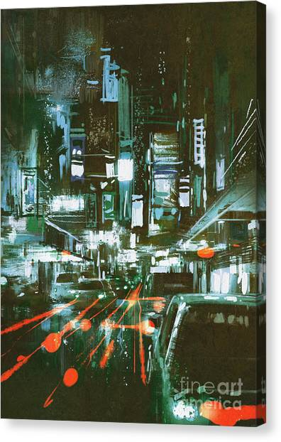 Acrylic Canvas Print - Painting Of Car Taillights On A City by Tithi Luadthong