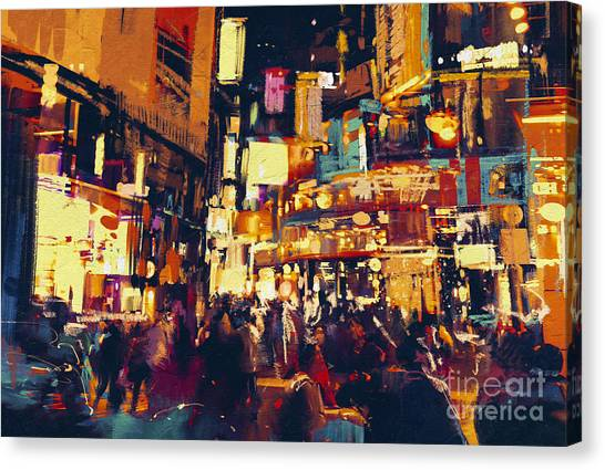 Acrylic Canvas Print - Painting Of City Life At Night,people by Tithi Luadthong