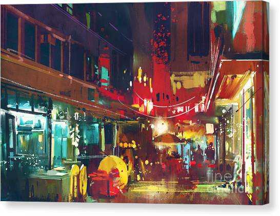Acrylic Canvas Print - Painting Of Colorful Building And City by Tithi Luadthong
