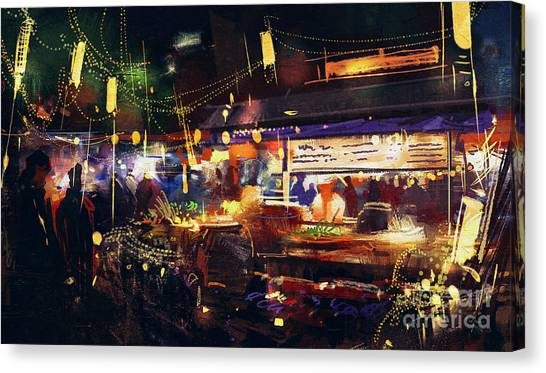 Acrylic Canvas Print - Painting Of Colorful Market At Night by Tithi Luadthong