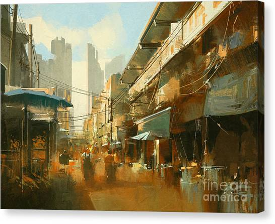 Acrylic Canvas Print - Painting Of Colorful Street by Tithi Luadthong