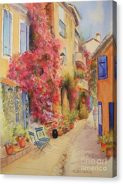 Painting Of Grimauld Village France Canvas Print