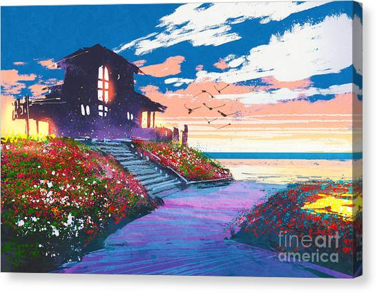 Acrylic Canvas Print - Painting Of Landscape With A Beach by Tithi Luadthong