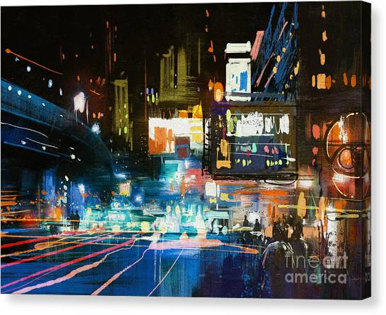 Acrylic Canvas Print - Painting Of Modern Urban City At by Tithi Luadthong