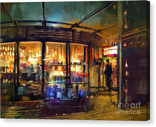 Mall Canvas Print - Painting Of Retail Shop Entrance In by Tithi Luadthong