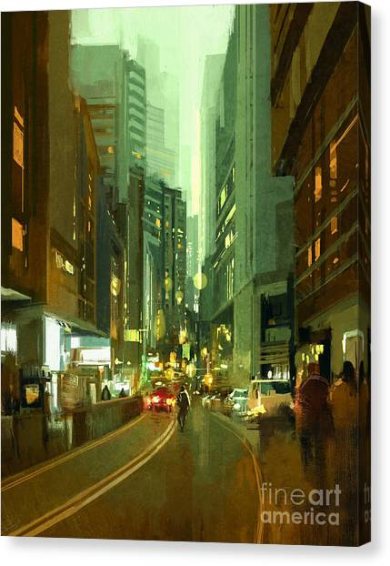Acrylic Canvas Print - Painting Of Street In Modern Urban City by Tithi Luadthong