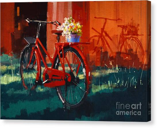Basket Canvas Print - Painting Of Vintage Bicycle With Bucket by Tithi Luadthong