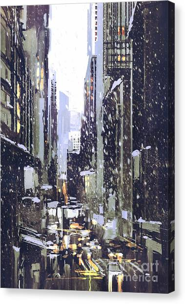 Acrylic Canvas Print - Painting Of Winter City With by Tithi Luadthong