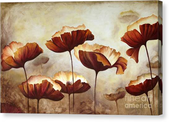 Media Canvas Print - Painting Poppies With Texture by Mauricio Graiki