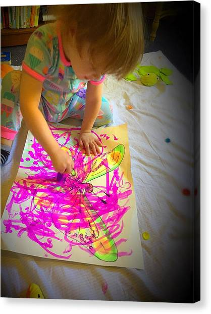 Painting The Butterfly Canvas Print by Danielle Rosaria
