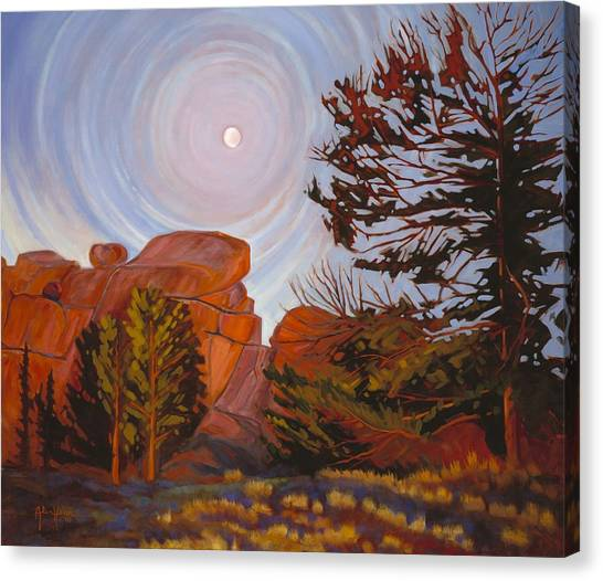 Pale Moon Over Vedauwoo Canvas Print