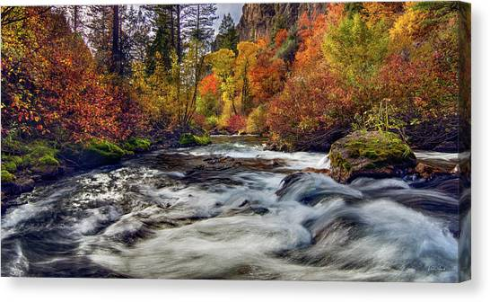 Palisades Creek Autumn Light Canvas Print by Leland D Howard