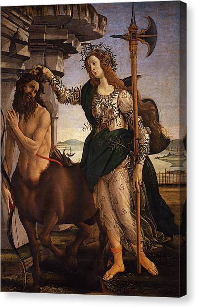 Botticelli Canvas Print - Pallas And Centaur  by Sandro Botticelli