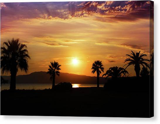 Canvas Print featuring the photograph Palm Beach In Greece by Milena Ilieva