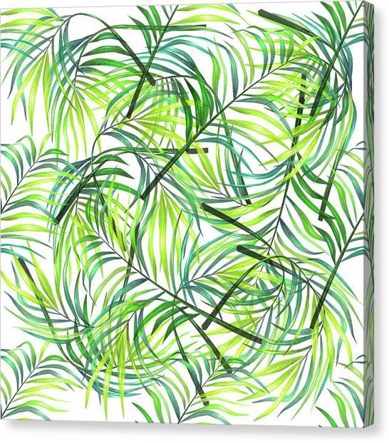 Blossom Canvas Print - Palm Leaf Pattern 1 - Tropical Leaf Pattern - Green, White - Tropical, Botanical Pattern Design by Studio Grafiikka