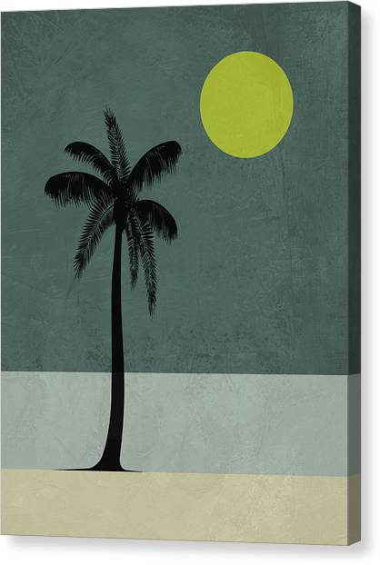 Cacti Canvas Print - Palm Tree And Yellow Moon by Naxart Studio