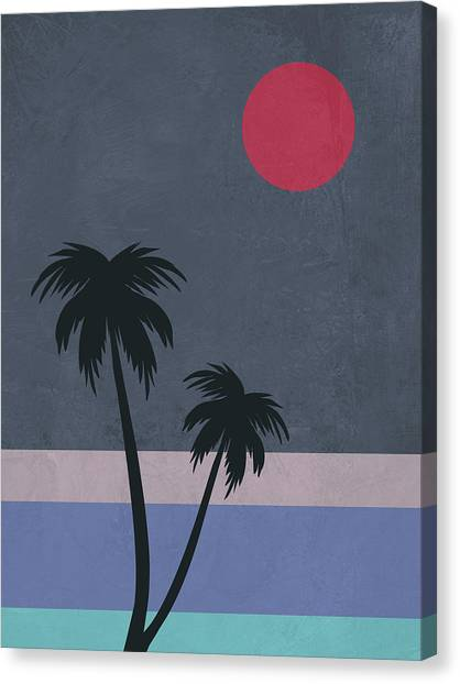 Cacti Canvas Print - Palm Trees And Red Moon by Naxart Studio