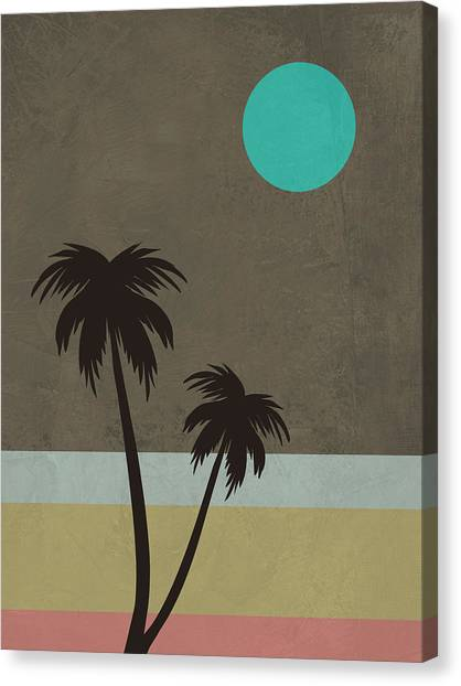Cacti Canvas Print - Palm Trees And Teal Moon by Naxart Studio