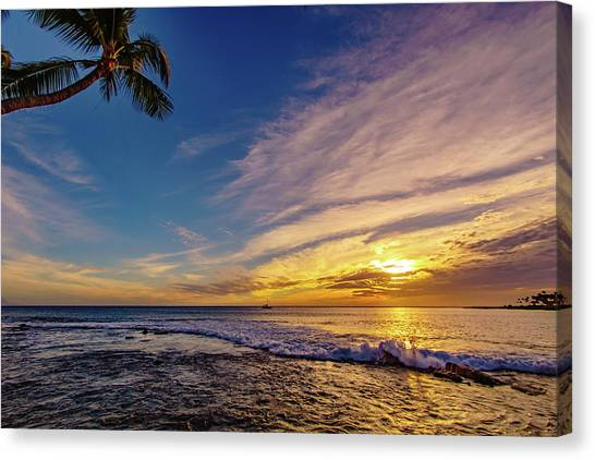 Palm Wave Sunset Canvas Print