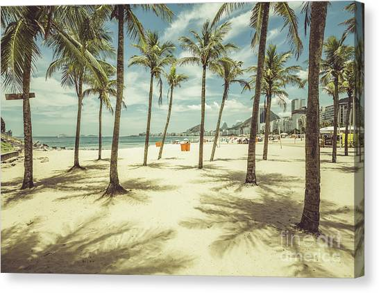 South American Canvas Print - Palms With Shadows On Copacabana Beach by Marchello74