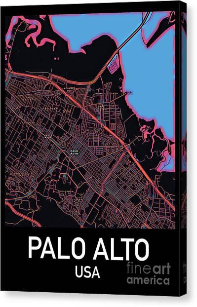 Palo Alto City Map Canvas Print