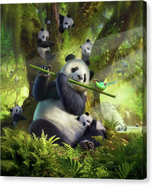 Magpies Canvas Print - Pan Da Bear by Jerry LoFaro