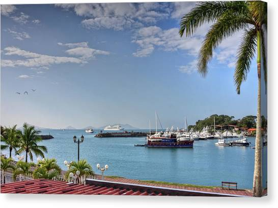 Canvas Print featuring the photograph Panama Canal Viewed From Amador Peninsula by Tatiana Travelways
