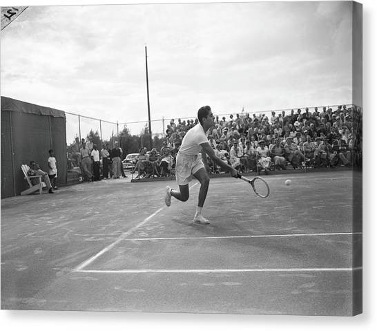 Pancho Gonzales On The Court Canvas Print