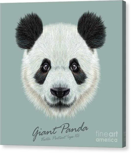Black And White Canvas Print - Panda Animal Cute Face. Vector Asian by Ant art