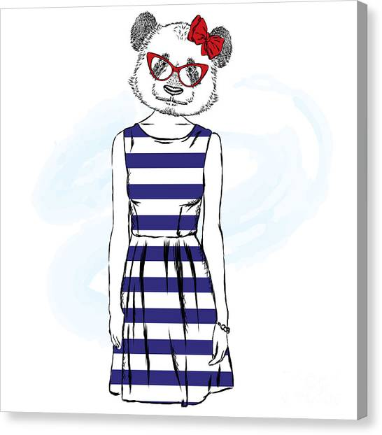 Clothing Store Canvas Print - Panda In A Dress . Bear With The Human by Vitaly Grin