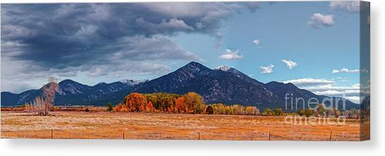 Prado Canvas Print - Panorama Of Ominous Clouds Above Pueblo Peak And Sangre De Cristo Mountains - Taos New Mexico by Silvio Ligutti