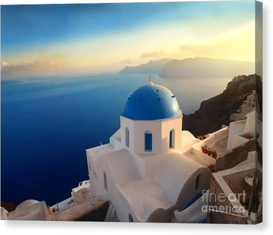 Church Canvas Print - Panorama Over A Church On Santorini by Ollyy