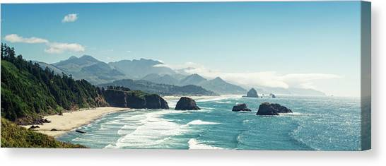 Panoramic Shot Of Cannon Beach, Oregon Canvas Print by Kativ