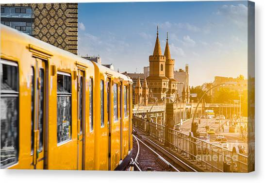Old Train Canvas Print - Panoramic View Of Berliner U-bahn With by Canadastock