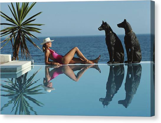 Pantz Pool Canvas Print by Slim Aarons