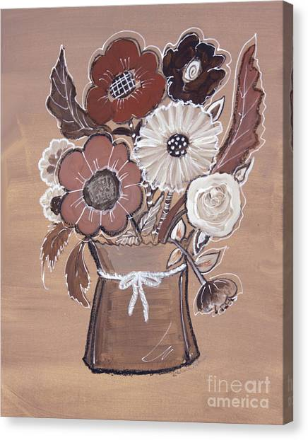 Canvas Print featuring the painting Paper Bag Bouquet by Robin Maria Pedrero