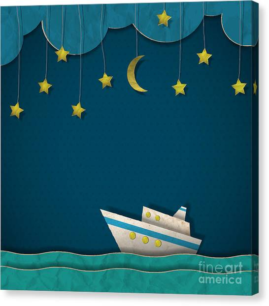 Paper Cruise Liner At Night. Creative Canvas Print by A-r-t