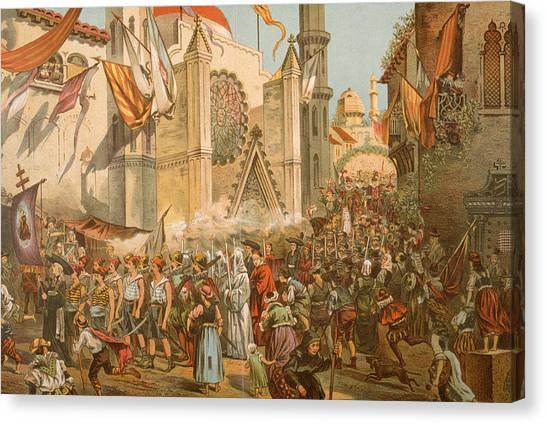 Parade Honoring Magellans Voyage Canvas Print by Hulton Archive
