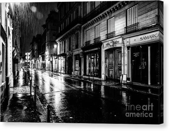 Paris At Night - Rue Saints Peres Canvas Print
