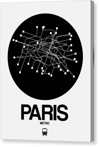 French Canvas Print - Paris Black Subway Map by Naxart Studio