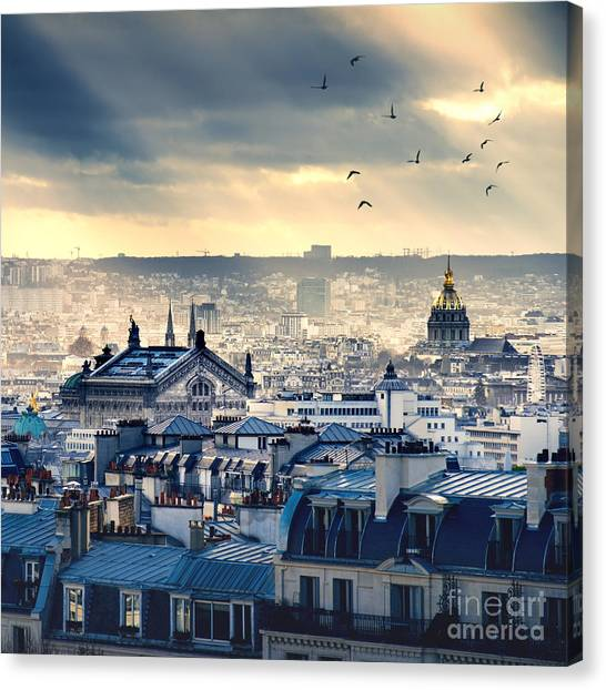 Eiffel Tower Canvas Print - Paris Cityscape Taken From Montmartre by Im photo