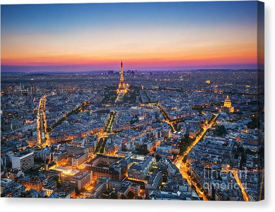 Eiffel Tower Canvas Print - Paris, France At Sunset. Aerial View On by Photocreo Michal Bednarek