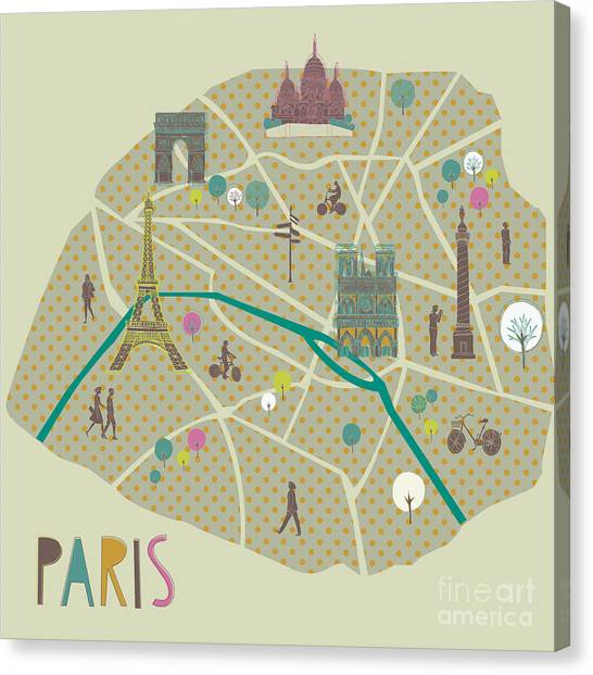 Eiffel Tower Canvas Print - Paris Map Greeting Card Design by Lavandaart