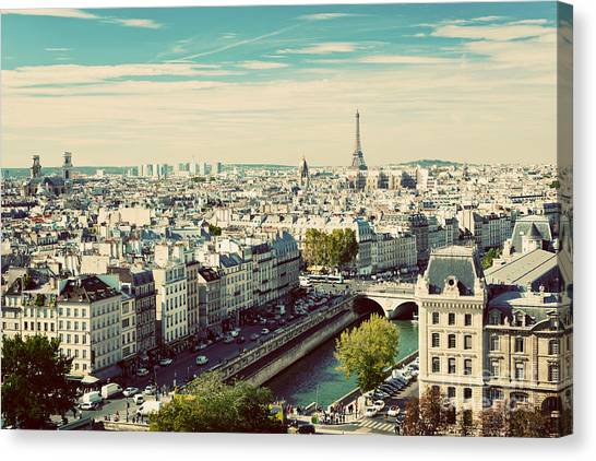 Parisian Canvas Print - Paris Panorama, France. View On Eiffel by Photocreo Michal Bednarek