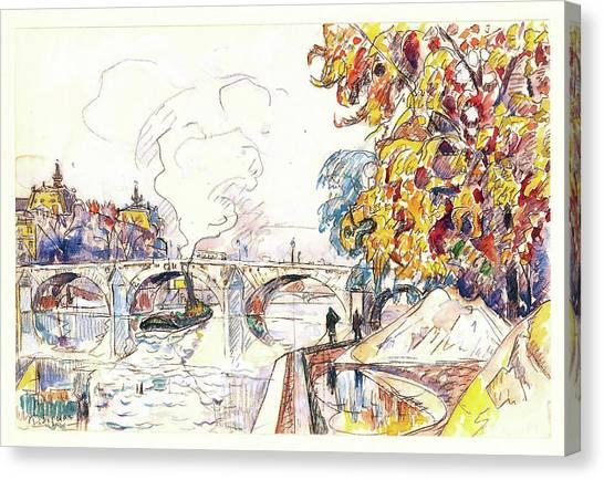 Signac Canvas Print - Paris, Pont Royal And The Gare D'orsay - Digital Remastered Edition by Paul Signac