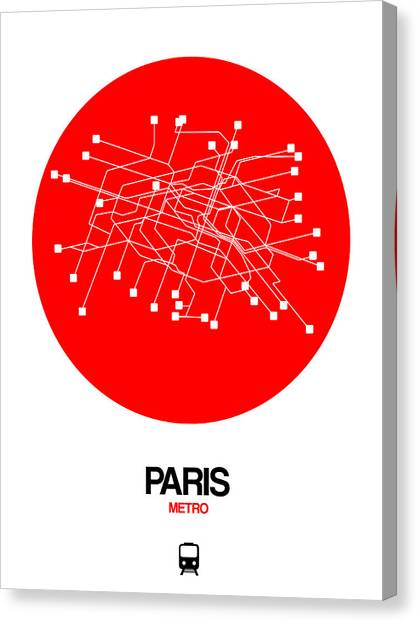 French Canvas Print - Paris Red Subway Map by Naxart Studio