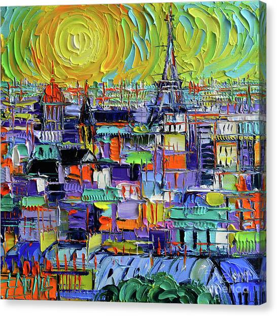 Notre Dame University Canvas Print - Paris Rooftops - View From Notre Dame Towers - Textural Impressionist Stylized Cityscape by Mona Edulesco