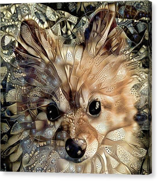 Paris The Pomeranian Dog Canvas Print