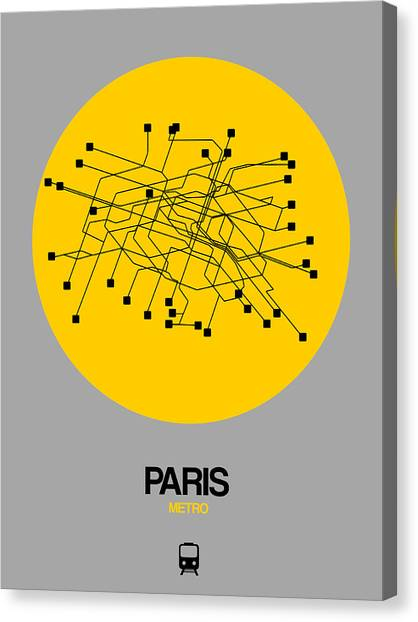 French Canvas Print - Paris Yellow Subway Map by Naxart Studio